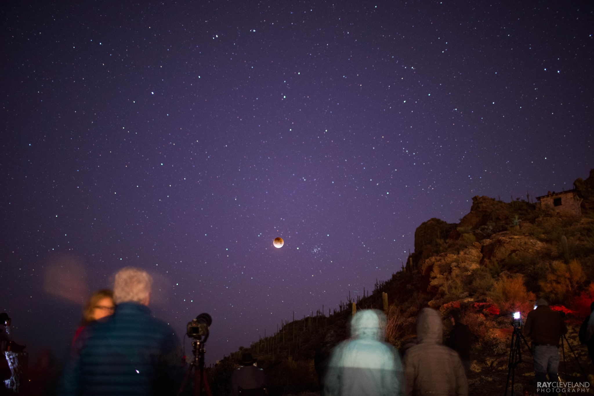 Some of the crowd with the blood moon.